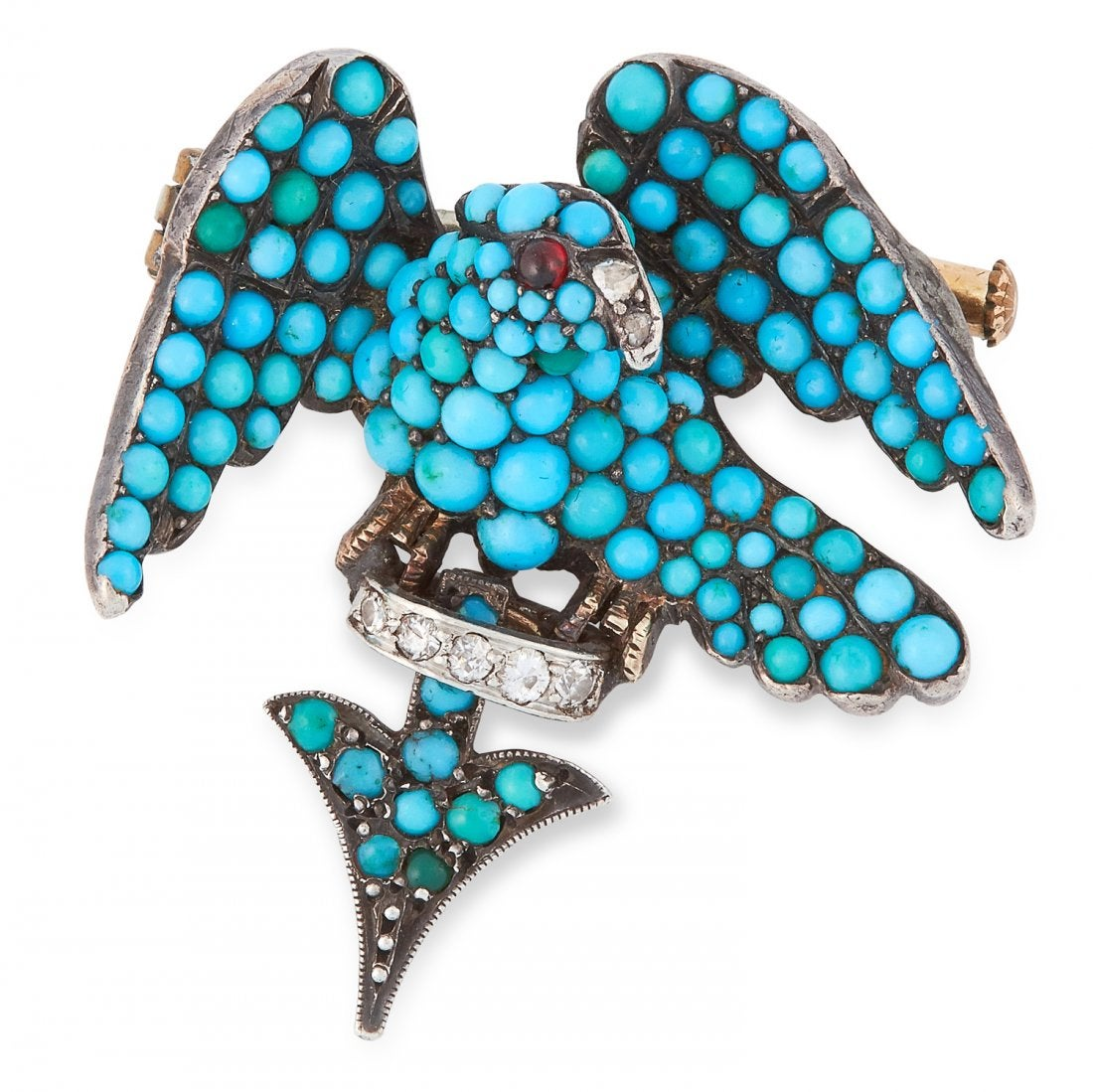 AN ANTIQUE TURQUOISE, GARNET AND DIAMOND EAGLE BROOCH, 19TH CENTURY