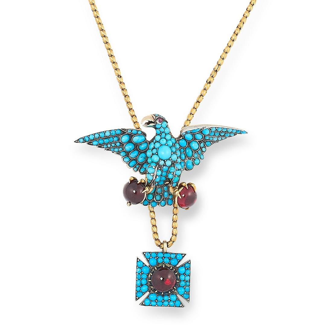 ANTIQUE TURQUOISE AND GARNET COBURG EAGLE NECKLACE