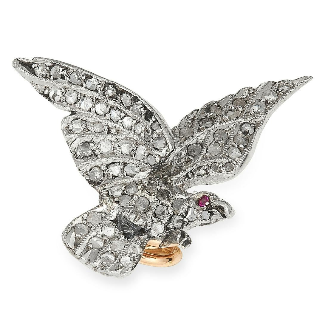 ANTIQUE VICTORIAN DIAMOND AND RUBY EAGLE PIN