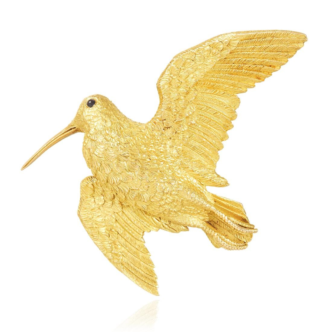 AN ANTIQUE SAPPHIRE HUMMINGBIRD BROOCH, GEORGE L'ENFANT FOR HERMES